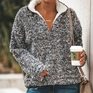 Sweaters - PREORDER Charcoal Gray Sherpa Pullover Sweater
